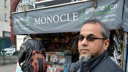 Nurul Islam at his news stand outside Belsize park Station
