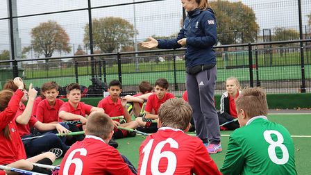 Helen Richardson-Walsh visits a hockey tournament at The Hewett Academy. Pictures: Courtesy of Inspi