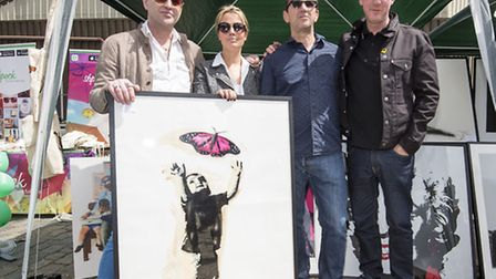 Left to Right: Artist Dom Pattinson, Zebra One gallery owner Gabrielle du Plooy, actor Phil Daniels