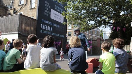 Eastenders and Holby City actor, Paul Bradley at the launch of the poetry mural at William Patten Sc