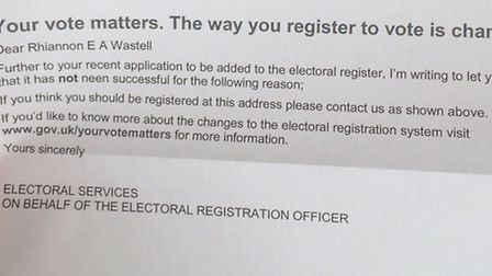Rhiannon Wastell received this letter about her vote registration