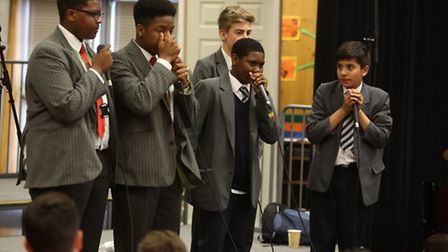 The City Academy in Hackney held an event called Boys Can Sing. Five different schools attended, Dau
