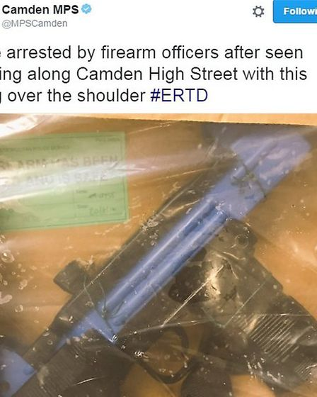 Police tweeted a picture of the alleged gun