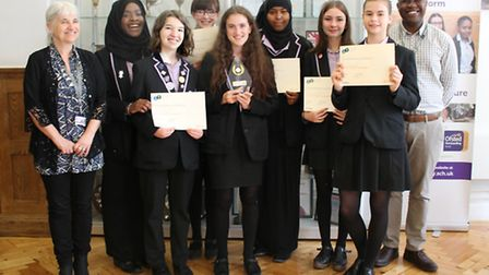 The winners of the Carnegie Award from Clapton Girls� Academy