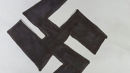 These swastikas were found on the children's playground in Stamford Hill. Picture: @Shomrim