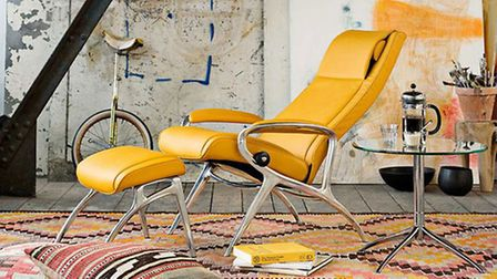 A Stressless James aluminium and leather recliner chair and footstool is available for the introduct