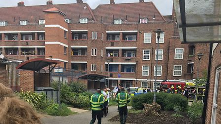 Medics and firefighters at the scene of the blast in Stamford Hill yesterday (Picture: @999London)