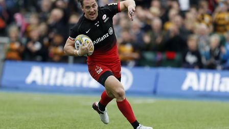 Saracens' Chris Wyles scores his second try in Saturday's Premiership semi-final against Leicester