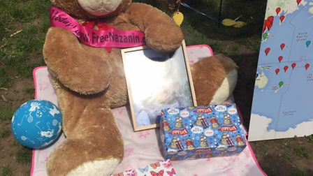 Friends brought presents for Gabriella along with a giant teddy bear