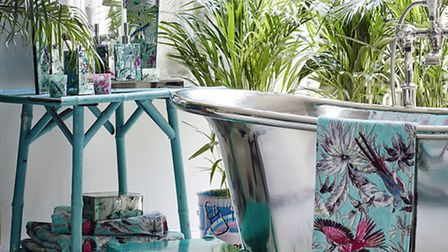 Accessorise with Butterfly Home Matthew Williamson Aqua Tropical Print Towels, currently reduced fro