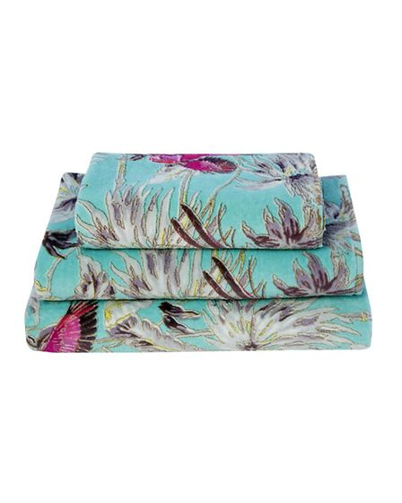 Matthew Williamson Butterfly home Aqua Tropical print towel, from �8 to �24, available from Debenham