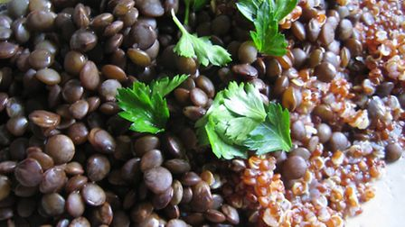 Black lentils and red quinoa. Picture: Miriam Kato