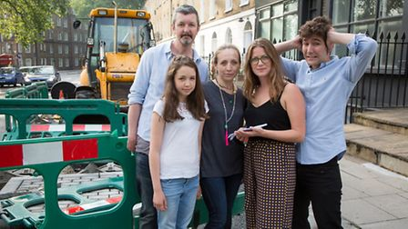Charlotte Moss holding a petition, with Nick, Alice and Elaine O'Connor and Ben Tansey.