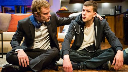 Alfie Allen, left, and Jesse Eisenberg in The Spoils. Picture: Oliver Rosser