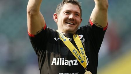 Saracens' Alex Goode celebrates after the Aviva Premiership final