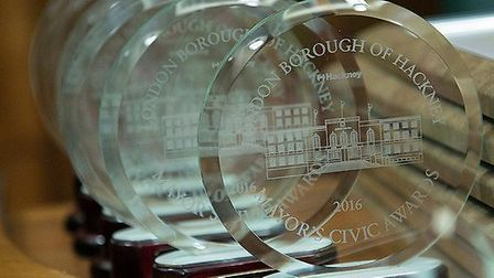 The trophies presented for the Civic Awards. Photo Gary Manhine
