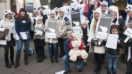Campaigners dress up to save the Old White Bear in Well Road in February 2014. Picture: Nigel Sutton
