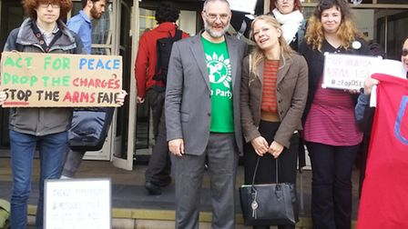 Tom Franklin, former chair of the Camden Green Party, pictured with Sian Berry and other supporters