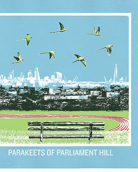 East London Printmakers, Emma Jane Reynolds, Parakeets of Parliament Hill