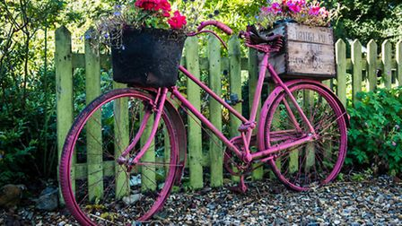 Pink flower bicycle. PA Photo/National Gardens Scheme.