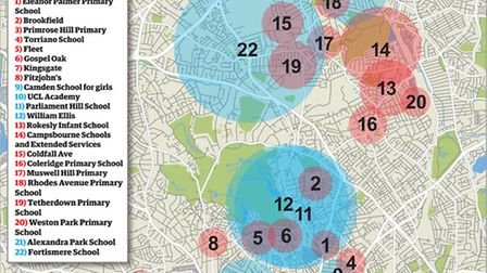 Catchment areas for selected state schools in Camden and Haringey based on 2013/14 figures