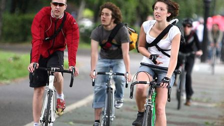Cyclists pedalling away in London Fields