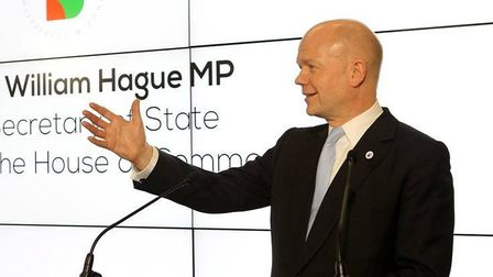 William Hague delivers a speech.