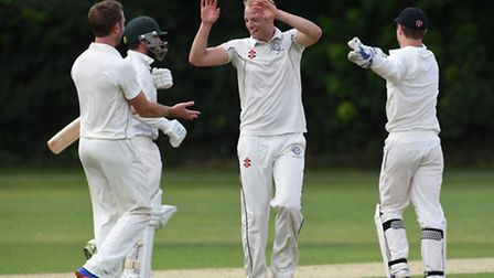 Will Roberts celebrates after taking the second of his five wickets, removing Shepherd's Bush captai