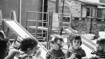 Youngsters at Sandbrook Nursery when it first opened (Photo: Larraine Worpole)