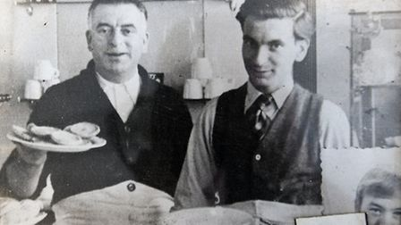 Arthur, right, at the caf� with his father (also Arthur) in 1947