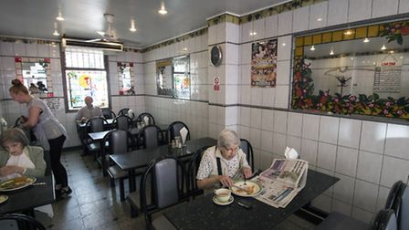 Diners enjoy the traditional East End caf� on a Thursday afternoon