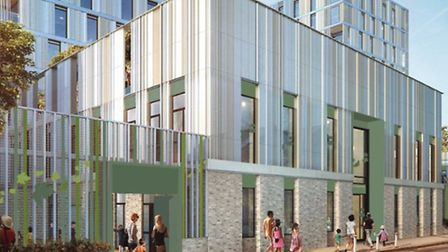 An artist's impression of the Tiger Way development, bordering Hackney Downs