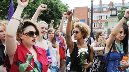 The Sisters Uncut demonstration outside Hackney Town Hall on Saturday (Picture: Dieter Perry)