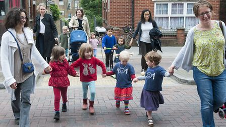 Parents and children campaign to save 101 playgroup. Photo: Nigel Sutton
