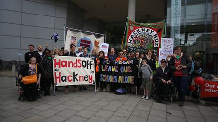Teachers in Hackney taking part in a national strike action outside Hackney Town Hall