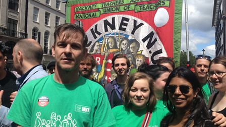 Des Barrow and members of Hackney NUT committee. Picture: Jessie Williams