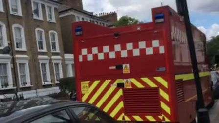 A three-storey house in Bouverie Road was on fire