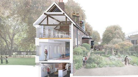 An artist's impression of the cross-section of the main Geffrye Museum building (Picture: Wright and