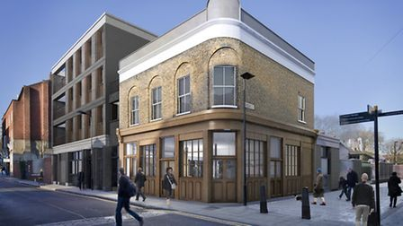An artist's impression of the cafe in a refurbished former pub in Cremer Street (Picture: Wright and