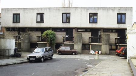 The row of houses at 22-32 Winscombe Street designed by Neave Brown for Camden council