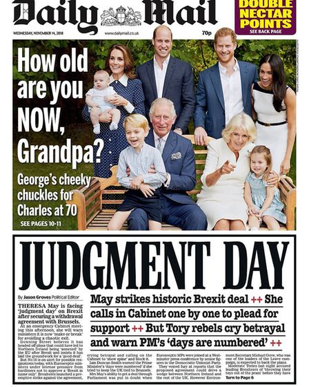 Front cover of the Daily Mail ahead of Theresa May's cabinet meeting
