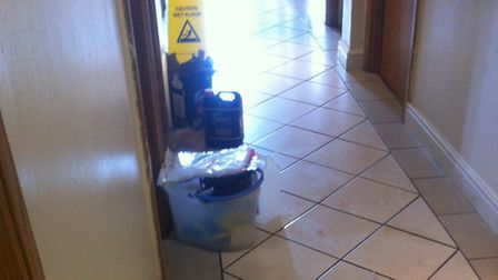 Cleaning materials outside the room where Joseph Coughlin died