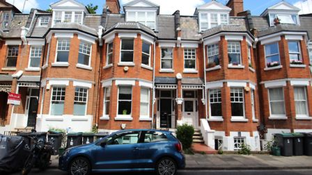 The one-bedroom flat is on the top floor of this Edwardian house on Milton Park, N6