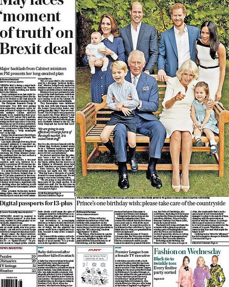 Front cover of the Daily Telegraph ahead of Theresa May's cabinet meeting