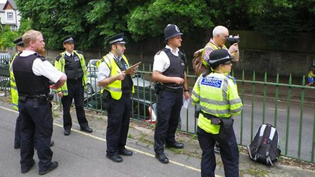 Highgate volunteers testing the equipment with police on North Hill
