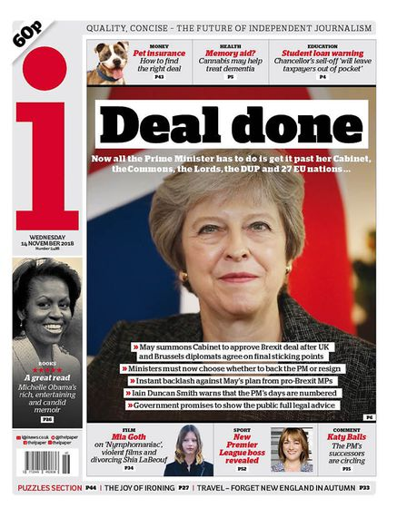 Front cover of the i newspaper ahead of Theresa May's cabinet meeting