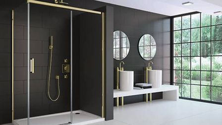 The 8 Series Colour Sliding Door in Gold, from £1,495.20, available from Merlyn Showering, visit mer