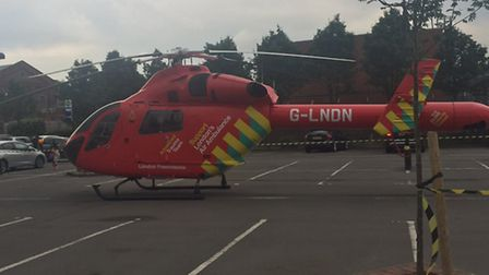 Air ambulance lands in car park of 02 centre Finchley Road