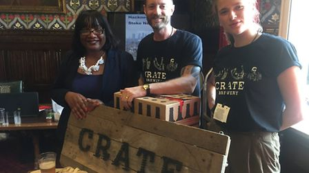 Diane Abbott with James Kellow and Chiara Giordani from Crate Brewery, based in Hackney Wick