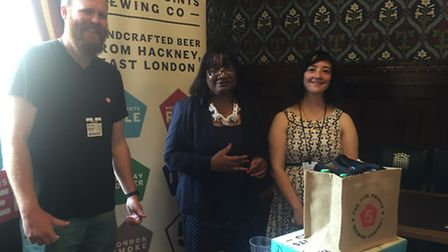 Diane Abbott with representatives from The Five Points Brewing Company, based in Dalston